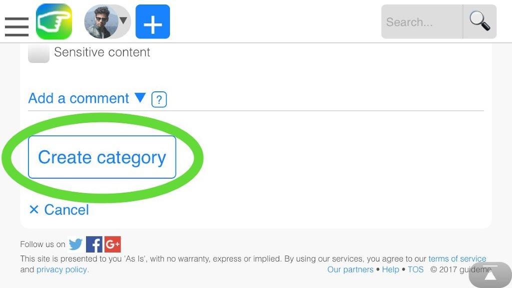 """Cliquez sur """"Créer categorie"""""""