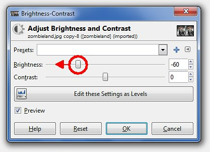 Drag brightness cursor to the left