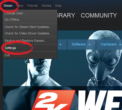 "Click ""Steam"" then ""Settings"""