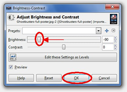 Drag brightness cursor to left