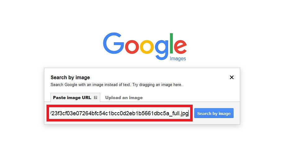 "Paste image URL and click ""Search by image"""