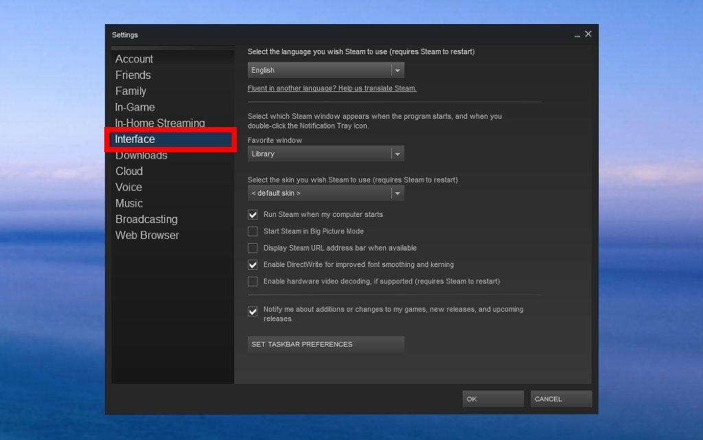 """Cliquez sur """"interface"""""""