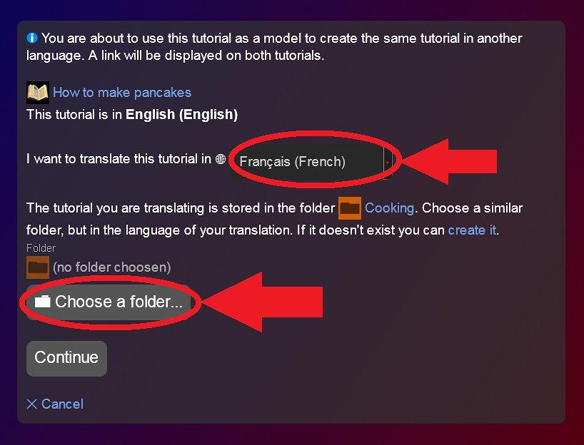Choisissez la langue et la catégorie